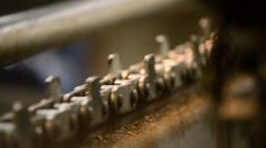 Old chain of a industry in action Stock Footage