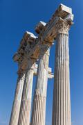 ancient apollo temple columns at turkey side - stock photo