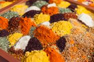 Stock Photo of pepper powder herbal spice condiment ingredients at food market