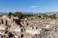 Ancient amphitheatre at turkey side city ruins Stock Photos