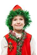 Little smiling child boy in gnome or elf costume Stock Photos