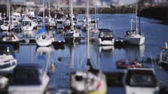 Boat Marina Tilt-Shift Timelapse Stock Footage