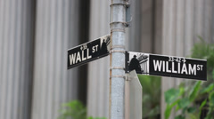 NYC - Wall St and William St signs - stock footage