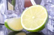 Stock Photo of Lime with ice cubes