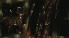 Aerial overhead illuminated night view City Buildings, USA - stock footage