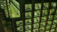 Stock Video Footage of Exterior view of the london skyline and a city office building at night