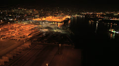 Aerial night view Container Port Oakland, San Francisco Bay, USA Stock Footage