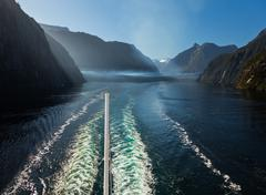fjord of milford sound in new zealand - stock photo