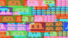 Hippie colorful caravan background Stock Footage