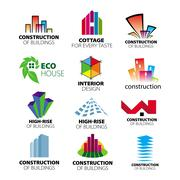 Collection of vector logos construction and home improvement Stock Illustration