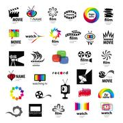 collection of logos tv, video, photo, film - stock illustration