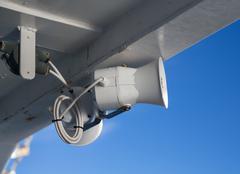 White painted loudspeaker on ship Stock Photos
