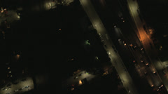 Aerial overhead illuminated view City Buildings, USA - stock footage