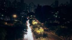 Sao Paulo night traffic in Sumare avenue - Night Time Lapse Stock Footage