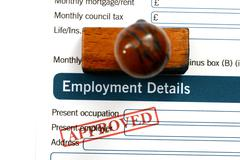employment form - approved - stock photo