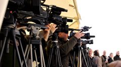 Press cameraman ,conference public media press cameras Stock Footage