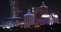 4K video of Macau casinos at night Stock Footage