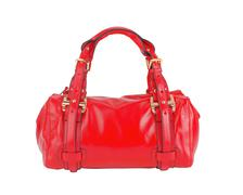 red leather woman bag isolated on white background - stock photo
