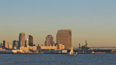 Port of san diego skyline and boat from the water Stock Footage