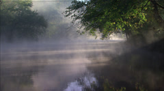 Early morning fog on river Stock Footage
