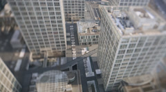 Office buildings taken using a tilt shift lens - stock footage