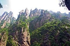 Spectacular rocks and peaks of  huang shan mountains Stock Photos