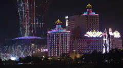 HD video of Macau casinos at night Stock Footage