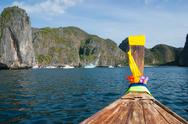 Stock Photo of traditional longtail boats in phi-phi leh island