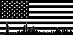 USA Black Flag New York City Vector Skyline - stock illustration