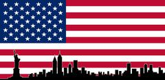 USA Colour Flag New York City Vector Skyline Stock Illustration