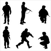 Black Soldier Silhouettes Vector illustration Stock Illustration
