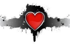 Red Heart Grunge Badge On White Background Vector Illustration Stock Illustration