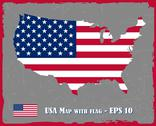 Stock Illustration of USA Map With Flag On Grey Background Vector Illustration