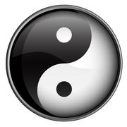 Yin Yang Black And White Badge Vector Illustration Stock Illustration