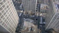 Office buildings with a tilt shift lens - stock footage