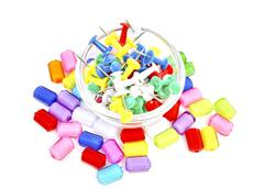 Colourful beads and pins Stock Photos