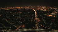 Stock Video Footage of Aerial view illuminated Freeway traffic, North America
