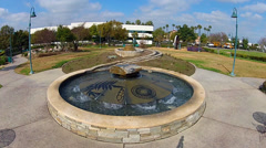 Artistic Fountain Green Space Garden Park- Santa Fe Springs CA Stock Footage