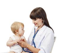 Stock Photo of pediatrician  doctor with patient