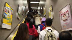 People ride the MTR subway in Hong Kong Stock Footage