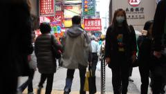 People exit the MTR subway in Hong Kong Stock Footage