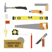 carpenter's tool kit - stock illustration