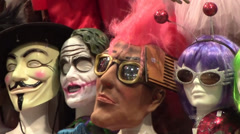 Colorful Masks and Disguises Stock Footage
