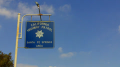 California Highway Patrol Sign- Santa Fe Springs California Stock Footage