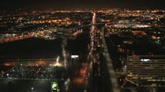 Aerial illuminated view City buildings, San Francisco, USA Stock Footage