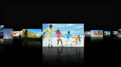 CG montage fly through multi ethnic American family beach holiday lifestyle - stock footage