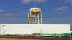 City Of Vernon California Watertower And Warehouse Stock Footage