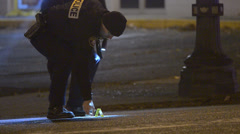 Police Marking Crime Scene After A Stabbing Overnight At A Bar 3 - stock footage