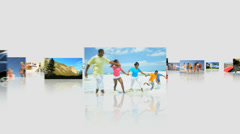 3D montage fly through Multi ethnic family healthy beach loving lifestyle - stock footage