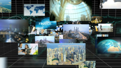 3D montage fly through Multi ethnic managers communication business profits Stock Footage